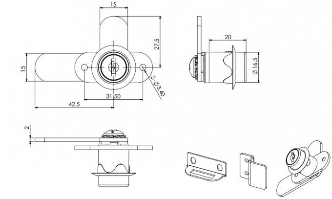 342 series 180 degree double door drawer cam locks